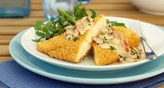 Escalope de poulet panée, champignons et jambon cruVoir la recette de l'Escalope de poulet panée, champignons et jambon cru >>