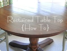 really detailed instructions here on restaining/restoring a table...has recommendations on preconditioning, mixing stains and sanding products