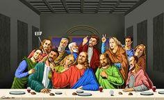 Quando il #selfie va di moda, illustrazioni satiriche di persone e personaggi religiosi