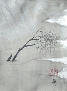 Jour de pluie (Peinture sumi-e ) ,  24x32 cm par Anne Bonningue Pièce unique à l'encre de chine traditionnelle sur papier de riz Wenzhou  Marouflée sur du papier 300g