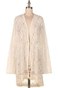 Fashionomics - Cardigan: 13B-J1274 FLORAL LACE OPEN CARDIGAN. (NO LINING)