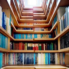 A staircase that is also a  bookshelf. My kind of staircase :)