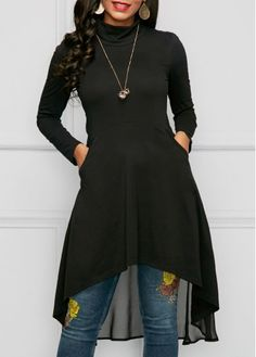 Long Sleeve Black High Low Blouse.