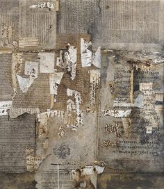 """<b>Teresa Rudowicz</b></i> <br /> (Polish, 1928-1994) <br /> Untitled <br /> mixed media collage <br /> signed and titled """"61/14"""" (verso) <br /> 17 x 19 inches."""