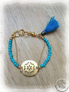 Bracelet perles et charm par ByVibi sur Etsy,