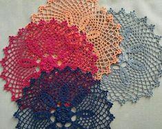 Lace Doilies, Crochet Doilies, Crochet Round, Perfect For Me, Blue Lace, White Cotton, Primary Colors, Burgundy, Table Decorations
