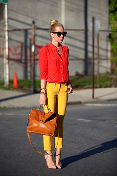 apsolutely adore this color combination yellow pants nude heels red top