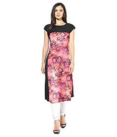 Trending India Women's Crepe Long Casual Kurtis(VAT117_MultiColoured_X-Large)