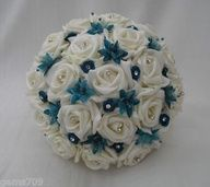 Teal Wedding Flowers on Wedding Flowers Brides Or Bridesmaids Posy Bouquet In Ivory And Teal
