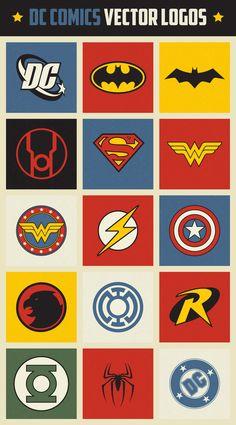 dc comic superhero logo vectors