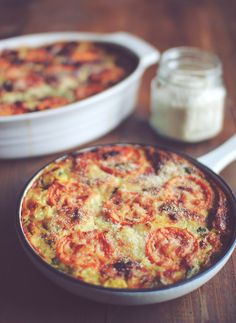 "The BEST Giant Frittata, hence it's name.  I prepped the veggies the night before, added 12 ozs chicken sausage (Alfresco brand 'Roasted Garlic'), doubled the topping, and baked it 38 mins in a 9x13"" dish.  We loved this, but might even prefer it vegetarian!"
