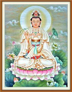 The new living room French genuine dmc cross stitch kits Bodhisattva to sit lotus Guanyin Buddha printed cloth