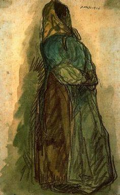 """""""A la espera, 1906"""". Carboncillo y acuarela. 48,2 x 30,5 cms. Gabinete de Dibujos y Grabados del MNAC, Barcelona. España."""