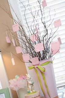 Baby Shower Wishing Tree. Guests write their wish for the baby and hang on the tree. Cute idea!