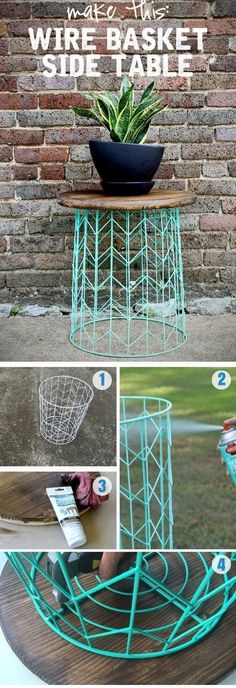Side table from a wire basket - a 20 minute DIY idea #homeimprovementtips