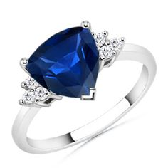 Trillion Sapphire and Round Diamond Ring