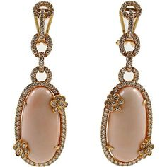 Diamond and Coral Earrings ❤ liked on Polyvore