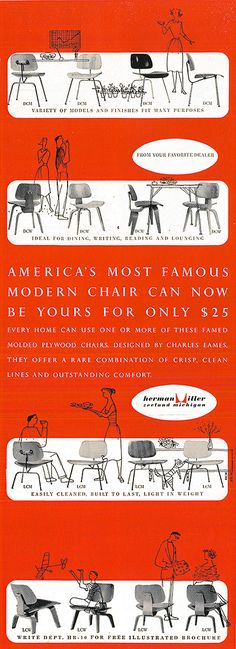 1950s graphic advertising #Eames chairs which are still made, still popular, still providing great service and performance!  @hermanmiller @vitra @vitrahaus @dwrpins