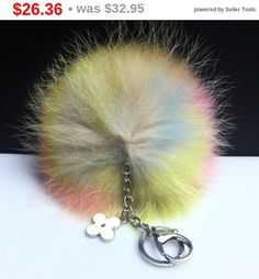 NEW Collection Dimensional Swirl Multi Color Raccoon Fur Pom Pom bag charm clover flower charm keychain piece no.291