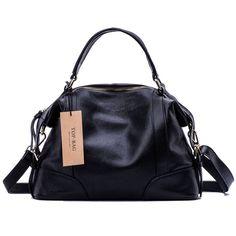Amazon.com: TOP-BAG® lovely women ladies' genuine leather tote bag handbag shoulder bag, SF1006 (Black): Clothing
