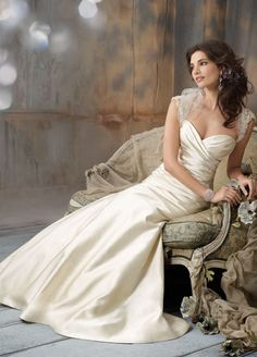 Antique Silk Faced Satin strapless A-line bridal gown, sweetheart neckline, elongated draped bodice, circular skirt, chapel train.  Tulle Shrug accented with embroidered crystal sleeves. Bridal Gowns, Wedding Dresses by Jim Hjelm Bridal - JLM Couture - Bridal Style jh8106 by JLM Couture, Inc.