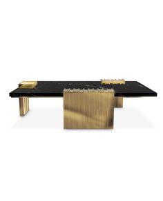 Vertigo center table was made with sleek design giving a classy feel and a luxurious appeal. The unusual forms in gold plated brass involve the nero marquina marble making the center of living rooms the aura of your projects. Centre Table Living Room, Center Table, Coffe Table, Tea Tables, Luxury Homes Dream Houses, Celebrity Houses, Interior Design Inspiration, Modern Design, Furniture Design