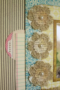 burlap, string, book paper, pearls