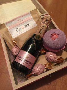 My perfect bridesmaid proposal box filled with Frank Coffee Scrub, Lush Sex Bomb, Moet Mini Rose Champagne, and Godiva Chocolates. What girl wouldn't love this?!