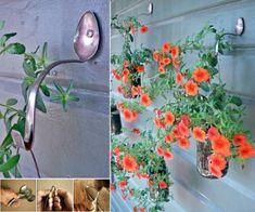 Garden Art From Junk Ideas 15 Ideas Diy Hanging Planter, Diy Planters, Hanging Baskets, Hanging Jars, Spoon Art, Glass Birds, Garden Ornaments, Porch Decorating, Decorating Ideas
