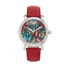 Marvel Comics Captain America Women's Leather Watch, Red