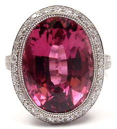 TIFFANY & CO France Pink Tourmaline & Diamond Platinum Ring