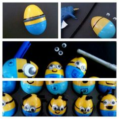Minion plastic eggs using pipe cleaner, wiggly eyes, sharpies, hot glue gun, rubberband (make a straight goggle band with a rubberband and the pipe cleaner hair through the holes in the egg shell)