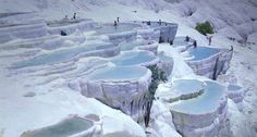 Pamukkale Cotton Castle Mineral Hot Springs in Turkey.