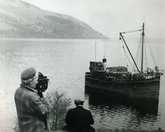 The first ever outside broadcast from the Highlands took place in The BBC programme featured the Clyde puffer, 'Kaffir', which is seen here searching for something in the waters of Loch Ness. Old Photos, Vintage Photos, Scotland History, Picts, Yearning, Getting Wet, Beautiful Islands, Lighthouses, Family History