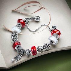 50% OFF!!! $359 Pandora Charm Bracelet Red White. Hot Sale!!! SKU: CB01898 - PANDORA Bracelet Ideas
