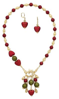 Single-Strand Necklace and Earring Set with Rubberized Acrylic Beads and Gold-Plated Brass Beads and Bead Caps