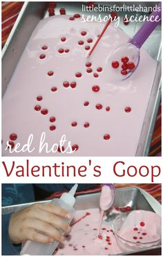 Valentines Goop with red hots candy for a Valentine's Day science activity. Goop is also oobleck and great kitchen science. A fun Valentine's Day sensory activity for early learning. My Funny Valentine, Valentine Theme, Valentines Day Party, Valentines For Kids, Valentine Day Crafts, Valentine Ideas, Valentine Recipes, Holiday Crafts, Valentine Sensory