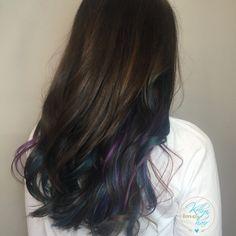Dark brown hair with vivid rainbow highlights - peek-a-boo - hidden rainbow - underlights - by Kellyn at Bow & Arrow, North End Boston at www.bowandarrowcollective.com
