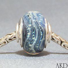 OOAK Artisan Handmade Lampwork Euro Charm Bead Blue by AKDlampwork