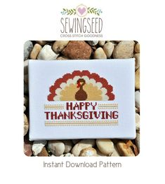 Happy Thanksgiving Turkey Cross Stitch Pattern by Sewingseed