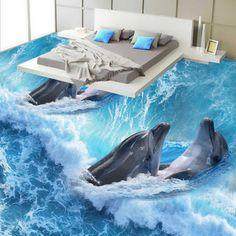 Frete Grátis Mãe filho Golfinho banheiro quarto 3D pintura piso engrossado auto-adesivo sala de estar piso hall de entrada mural(China (Mainland))