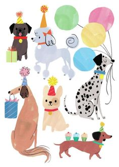 Advocate-Art illustration and publishing agency bday en 2019 happy birthday Party Animals, Animal Party, Cute Animals, Art And Illustration, Illustration Inspiration, Animal Illustrations, Dog Birthday, Birthday Wishes, Birthday Cards