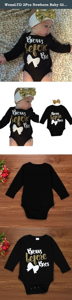 """WensLTD 2Pcs Newborn Baby Girl Letter Long Sleeve Romper+Headband Outfits Clothes (80). Gender: Girls Clothing Length: Regular Sleeve Style: Regular Pattern: Letter Printed Style: Cute Material: Cotton Blend Sleeve Length:Long Sleeve Package include:1PC Romper+1PC Headband Suitable for ages in children (0-2 years old) Size:3M Label Size:70 Bust:48cm/18.9"""" Sleeve:24cm/9.4"""" Length:38cm/15"""" Height:60CM Size:6M Label Size:80 Bust:50cm/19.7"""" Sleeve:26cm/10.2"""" Length:41cm/16.2"""" Height:70CM..."""
