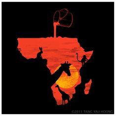 Dawn illo by Tang Yau Hoong Africa Drawing, Africa Painting, African Art, African Culture, African American Art, African Safari, Nice Art, Space In Art, Space Artwork