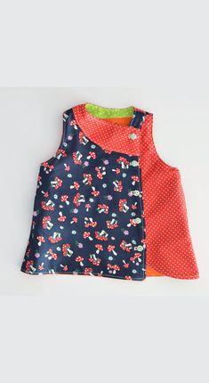 Patrón de costura de vestido infantil Patrón de vestido infantil reversible y divertido: Vestido Iris infantil. Sewing Summer Dresses, Prom Girl Dresses, Little Girl Dresses, Prom Dress, Wedding Dress, Baby Dresses, Baby Girl Dress Patterns, Baby Clothes Patterns, Baby Outfits
