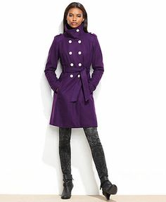 GUESS Coat, Funnel-Collar Belted Military