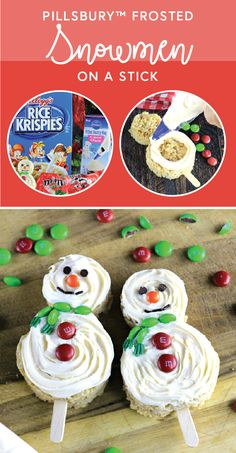 Spread a bit of holiday cheer to friends, teachers, neighbors—you name it—with the help of this recipe for Cute Snowmen on a Stick Treats! Featuring Rice Krispies® cereal, M&M'S® Milk Chocolate Holiday Candies, and Pillsbury™ Filled Pastry Bag Cream Cheese Frosting, making these festive bites during the Christmas season is sure to become one of your family's favorites. Plus, by picking up all the ingredients you need at Target, holiday baking has never been easier.