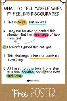Self Efficacy, Feeling Discouraged, Positive Self Talk, Positive Behavior, Quotes Positive, Social Emotional Learning, Coping Skills, Self Improvement, Self Help