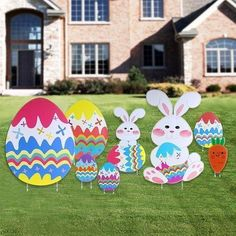Easter Eggs Lawn Signs Yard Decorations Corrugated Spring Garden Stakes 5  Pc Set #Amscan | Toys For Sale! | Pinterest