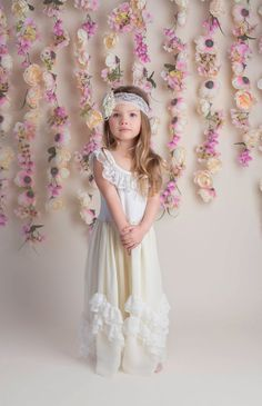 Lace Flower Girl Dress Ivory Boho Lace Dress by CountryCoutureCo